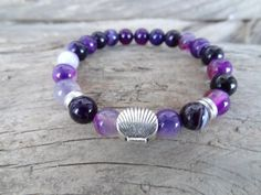 Purple Agate Bracelet Love Heart Bracelet Stone Jewelry