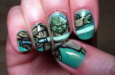 At a friend's request, I did some Star Wars nail art: behold Yoda! I used acrylic paints for this one, on a base of Tryst Lacquers and Girly Bits. It took forever but I'm happy with it. His lightsaber glows in the dark!! (As it should.)