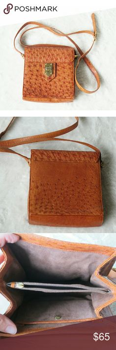"""German Ostrich Leather Purse Crossbody An amazing Crossbody from Germany, this Ostrich Leather Purse will be a great statement piece in your closet!  -Excellent used condition, like new except for some wear on hardware (pic 4) and a missing zipper pull on the inside (pic 3) -Ostrich Leather, Suede interior -Pockets: 2 inside, 2 sections (pic 3) -6""""x7""""x2""""  -51"""" handle length, adjustable -Golden tan colors, gold tone hardware (colors' appearance may vary on screen)  Questions? Just ask! Bundle…"""