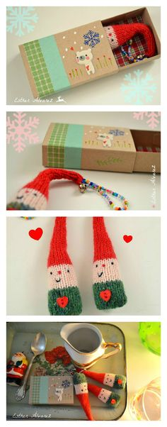 crochet something similar to send to the family that uses elf on the shelf Yarn Crafts, Diy And Crafts, Crafts For Kids, Arts And Crafts, Matchbox Crafts, Matchbox Art, Christmas Sewing, Puppet Toys, Diy Box