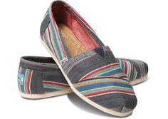 Toms Denim Stripe Women Classics