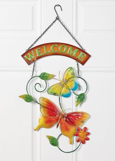 #29594 Butterfly Welcome Hanging Wall Decor by sensationaltreasures