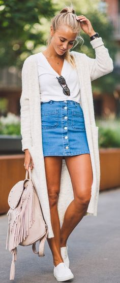Janni Deler Denim Skirt Outfit Idea - Street Fashion