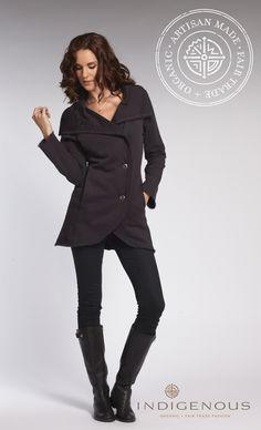 The INDIGENOUS organic + fair trade soft fleece Portrait Coat reviewed by WIRED / Geek Mom blogger Laura Grace Weldon.