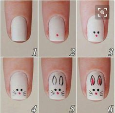 50 Astonishing Nail Art Tutorials Ideas Just For You Nail Art Designs Videos, Simple Nail Art Designs, Cute Nail Designs, Pretty Designs, Easter Nail Designs, Easter Nail Art, Minimalist Nails, Cat Nail Art, Bunny Nails