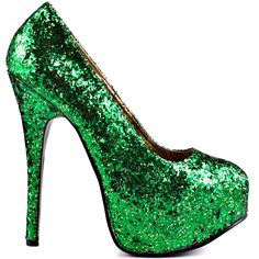 Simple but stunning!  Bordello brings you a classic silhouette that every fashionista needs in her collection.  Emerald City features a bright green glitter upper, showcased by a 5 3/4 inch heel and a 1 1/2 inch platform.
