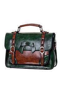 Bolso clásico marrón y verde