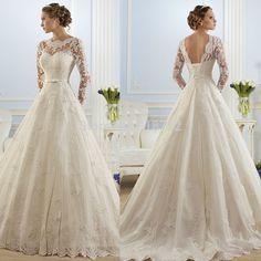 Vestido De Noiva 2015 New Fashionable Elegant High Neckline A Line Long Sleeve Wedding Dress Lace Bridal Gown
