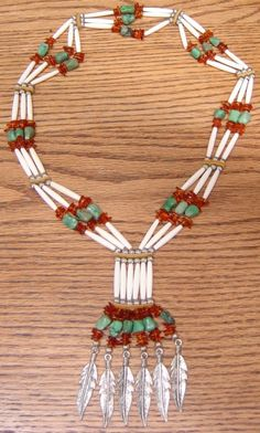 Amber Turquoise and Bone Hairpipe Bandolier Necklace Native American Jewellery, American Indian Jewelry, Native American Beading, Safety Pin Art, Safety Pin Crafts, Native Beading Patterns, Beaded Necklace Patterns, Feather Jewelry, Beaded Jewelry