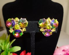 Juliana Goldtone Watermelon Aurora Borealis Earrings with Clip On Backs - Stunning