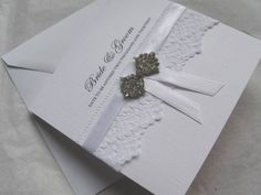 Wedding Invitations - Personalised - Vintage Lace, Satin & Diamante Bow