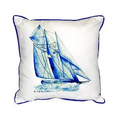 Such a gorgeous blue and white sailboat nautical image on an indoor and outdoor pillow!