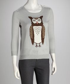 Take a look at this Gray Moon Owl Sweater by Love By Design on #zulily today!
