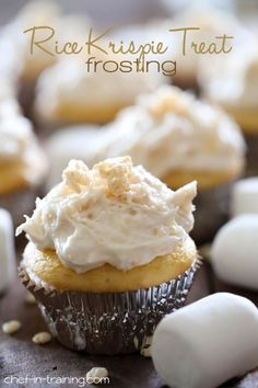 Rice Krispie Treat Frosting Rice Krispie Treat Frosting from chef-in- .This frosting is AMAZING! If you love Rice Krispie Treats, you'll LOVE this! Frosting Recipes, Cupcake Recipes, Cupcake Cakes, Dessert Recipes, Rice Recipes, Breakfast Recipes, Fudge Recipes, Homemade Frosting, Cereal Recipes