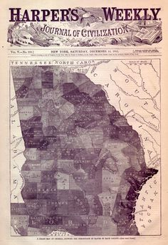 """Georgia Slave Map- Harper's Weekly Dec. 14,1861 This is an original and incredible """"Slave Map"""" for the State of Georgia.  The map is from an 1861 edition of Harper's Weekly, the most popular illustrated newspaper of the day.  The map shows each county in Georgia, and indicates the relative population of Slaves and Whites. Incredibly, some counties are over 85% slaves. The darker the shading of a county, the larger the slave population."""