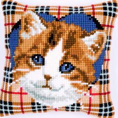Cat on Tartan Background - Cross-stitch cushion