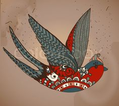 Stock image of 'Old-school style tattoo swallow, Vintage Valentine illustration for Holiday design'
