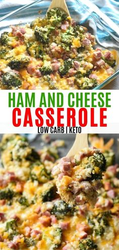 Low carb ham and cheese casserole. Loaded with ham, cheese, and vegetables. This is the perfect healthy dinner idea! dinner for large group Ham Casserole with Broccoli and Cauliflower Rice - Curbing Carbs Ham And Cheese Casserole, Healthy Casserole Recipes, Cauliflower Rice Casserole, Keto Casserole, Broccoli Casserole, Healthy Low Carb Dinners, Healthy Low Carb Recipes, Diet Recipes, Diabetes Recipes