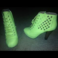 Neon heels Neon green/yellow heels only worn one time for a photoshoot Shoes Heels