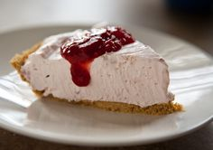 COOL WHIP NO BAKE STRAWBERRY CHEESECAKE: Ingred:1 (8 oz) container COOL WHIP Whipped Topping  1 (8 oz) package cream cheese, softened;1/4 cup sugar;  can of cherry pie filling(my substitution);1 pre-prepared graham cracker crust; (NOTE: You can make this in under 10 minutes and it will be DIVINE!) OINK!
