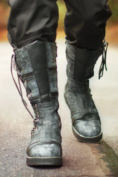 Mens Spiral Moto Boots with Adjustable Calves, Leather, Gothic / Steampunk Moto Style by Ayyawear Calf Boots, Knee High Boots, Over The Knee Boots, Moto Boots, Leather Boots, Combat Boots, Leather Sandals, Riding Boots, Leather Jacket