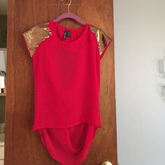 Red and gold open back shirt Red and gold open back shirt - fits like small Tops Blouses