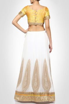 #divyakanakiaclothing Rich design white and yellow lehenga choli