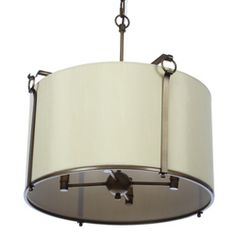 @Overstock - A brushed nickel finish highlights this Sebu Griginal pendant. This 4-light fixture features a cream shade.http://www.overstock.com/Home-Garden/Sebu-Griginal-4-light-Bronze-Cream-Pendant-Fixture/5207217/product.html?CID=214117 $96.99