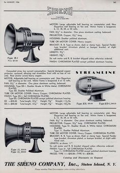 SIRENO SIRENS FOR FIRE ENGINES 1936 AD