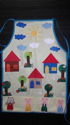 Avental 3 porquinhos. Compre em nossa loja virtual www.silvana.elo7.... ou entre em contato pelo e-mail silvanarigamonte@yahoo.com.br