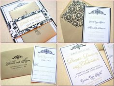 Gold and Black Wedding Invitation