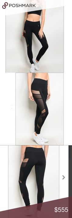 COMING SOON ✨ Black Mesh Insert Leggings 🖤 Black leggings with side mesh detail. 🖤 Small, medium and large available.  🖤 Mid rise fit.  🖤 Price firm unless bundled. 🖤 Like post for an alert! Pants Leggings