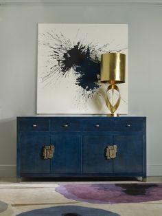 Modern sideboard | modern art, brass lamp, deep cobalt blue buffet with modern watercolor |www.bocadolobo.com #modernsideboard #sideboardideas