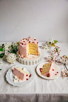A recipe for pomegranate citrus meringue cake from Hummingbird High. Just Desserts, Delicious Desserts, Yummy Food, Healthy Food, Baking Recipes, Cake Recipes, Dessert Recipes, Cupcakes, Cupcake Cakes