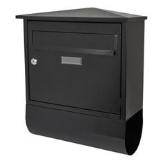 Belfast Letter Box and Newspaper Holder - 430 x 38 x - Black Galvanized Steel, Filing Cabinet, Newspaper, Lettering, Storage, Black, Binder, Black People, Larger