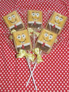 Spongebob cake pops.  make with rice crispie treats?  Yum!