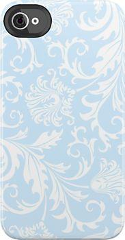 White And Pastel Blue Floral Damasks