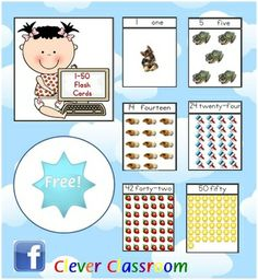 FREE 1-50 Number Flash Cards - PDF file13 page, free teaching resource by Clever Classroom. Another freebie for your classroom!I hope these...
