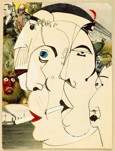 Erwin Blumenfeld: Raucherinnen, 1920 - 1925. Man beachte den Herrn rechts hinter den Frauen (vermutlich August Strindberg)und den (Zigaretten-)Rauch, der aus einem Panzerkreuzer steigt.