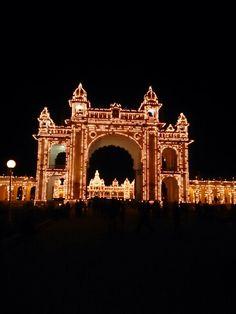 Mysore palace through its gate....
