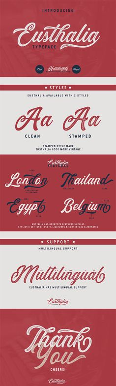 Free Eusthlia #Script #Font is a #clean script font coming from Yudha Ageng. Eusthalia Typeface can be use in vintage designs. With those kind of styles, Eusthalia Typeface can be use in vintage designs. Eusthalia Typeface is great for Logotype, Branding Design, Logo Design, Digital Lettering Arts, T-Shirt/Apparel, Poster, Magazine, Signs, Advertising Design, and any vintage design needs. via @creativetacos