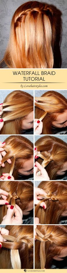 How to Do a Waterfall Braid Step by Step ★ See more: http://lovehairstyles.com/how-to-do-a-waterfall-braid/