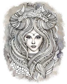 "Zodiac ""TAURUS"" Art Print by balabolka | Society6"