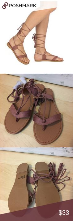 🌸SPRING SALE🌸Mauve Lace Up Flat Sandals Mauve Lace up flat sandals. So cute comfy for spring/ summer. Pair them with jeans, shorts, skirts or even your swim suit! Bchic Shoes Sandals