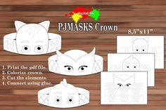 PJmasks Crown Coloring Crown PDF Instant Download by Astudio4U