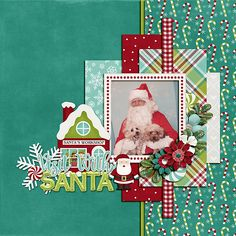 Visit With Santa Dog Scrapbook Layouts, Scrapbook Designs, Scrapbook Sketches, Scrapbook Cards, Scrapbook Rooms, Scrapbook Borders, Scrapbook Titles, Christmas Scrapbook Layouts, Christmas Layout