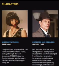 Cast of characters: Miss Phryne Fisher and Detective Inspector Jack Robinson