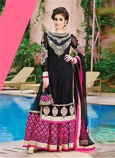 Dashing Black And Pink Embroidered Designer Suit  PRODUCT CODE: FB0327 AVAILABILITY: In Stock  ₹ 7565.00