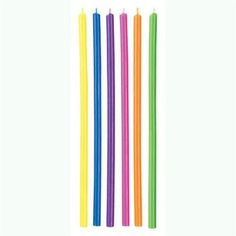 Multicolor Long Candles, 3-Pack