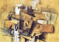 Violin and Glass : Georges Braque : Synthetic Cubism : still life - Oil Painting Reproductions Cubist Paintings, Cubist Art, Colorful Paintings, Abstract Art, Pablo Picasso, Picasso And Braque, Paul Cezanne, Henri Matisse, Georges Braque Cubism